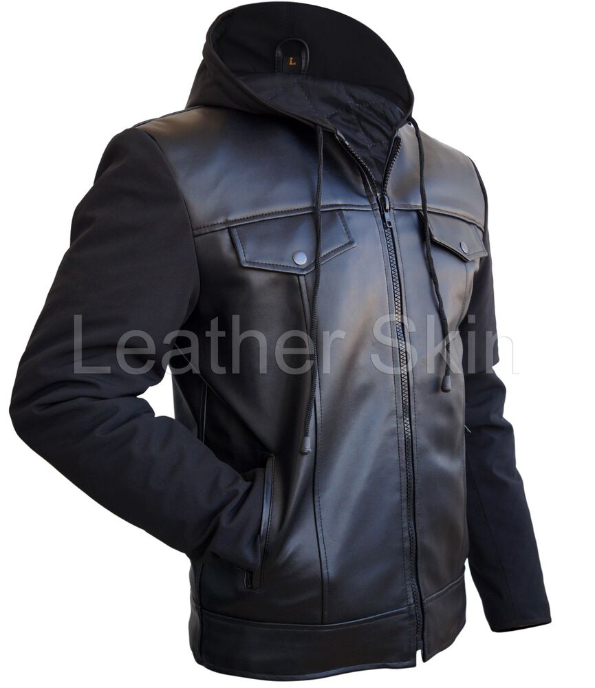 Leather Skin Men Black Hooded Hood Leather Jacket with ...