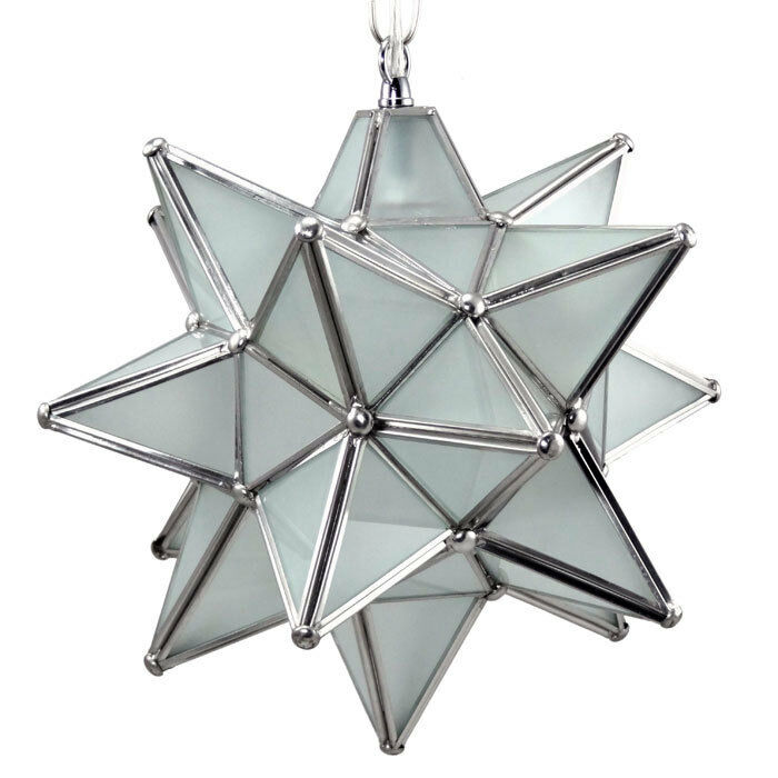 Moravian star pendant light frosted glass silver frame
