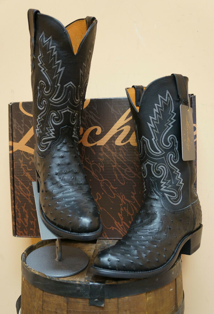 mens lucchese cowboy boots n1063 r4 black quill