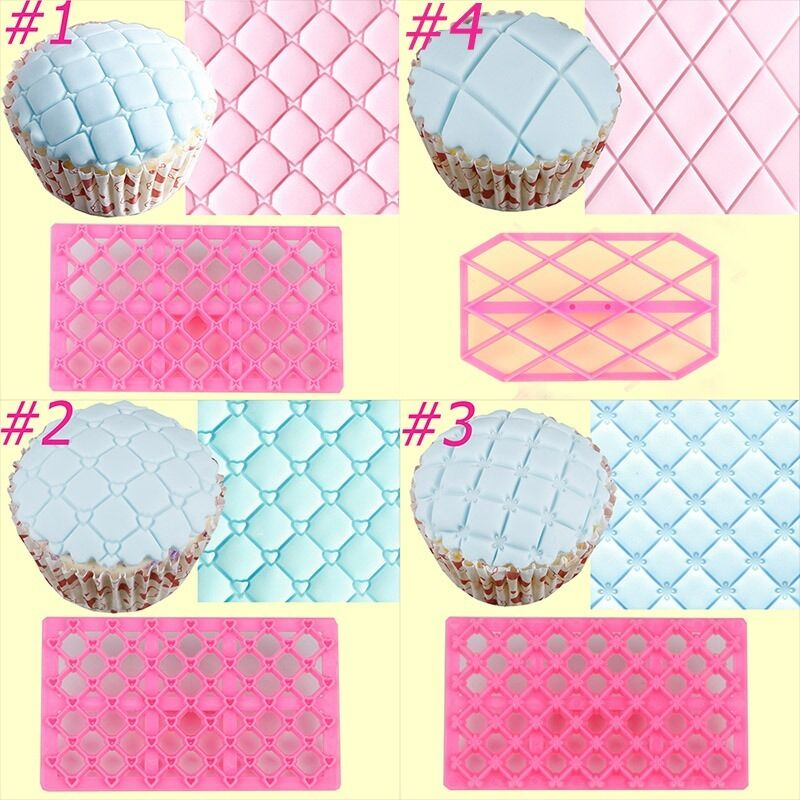 Quilting Cake Decorating : Nice! 4 Sets Quilting Embosser Mold Cake Fondant Icing Cutter Decorating Tools eBay