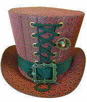 Steampunk madhatter Handmade Red Taffeta brocade Top Hat with cog hatpin