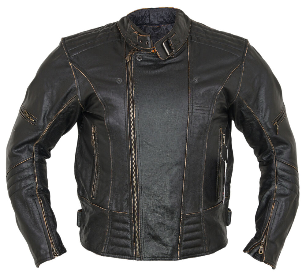 herren motorrad lederjacke biker retro rocker chopper motorrad antik jacke ebay. Black Bedroom Furniture Sets. Home Design Ideas