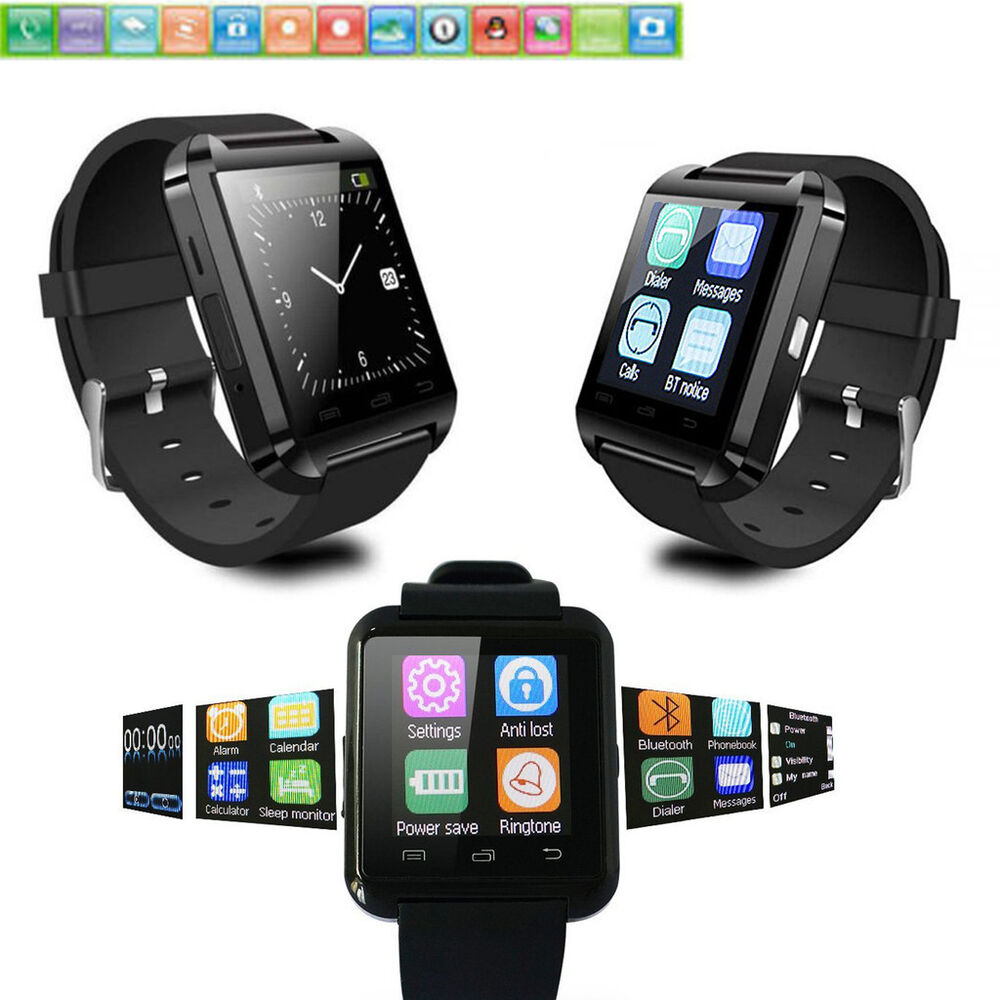 Black Bluetooth Smart Watch Touch Screen Wrist Watch For ...