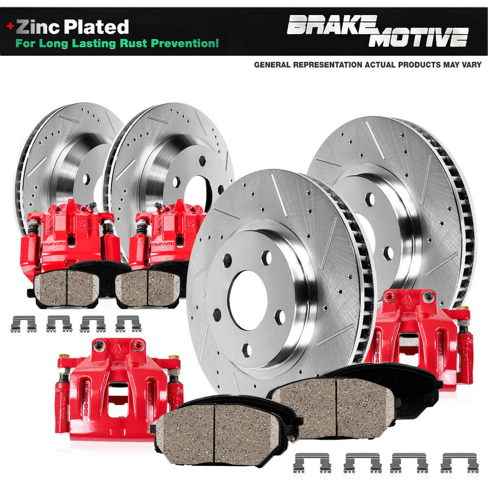 Front+Rear Red Brake Calipers & Rotors +Pads For 2004 2005
