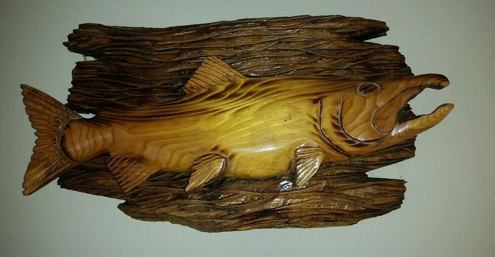 Hand carved large salmon wood wall carving chainsaw cabin