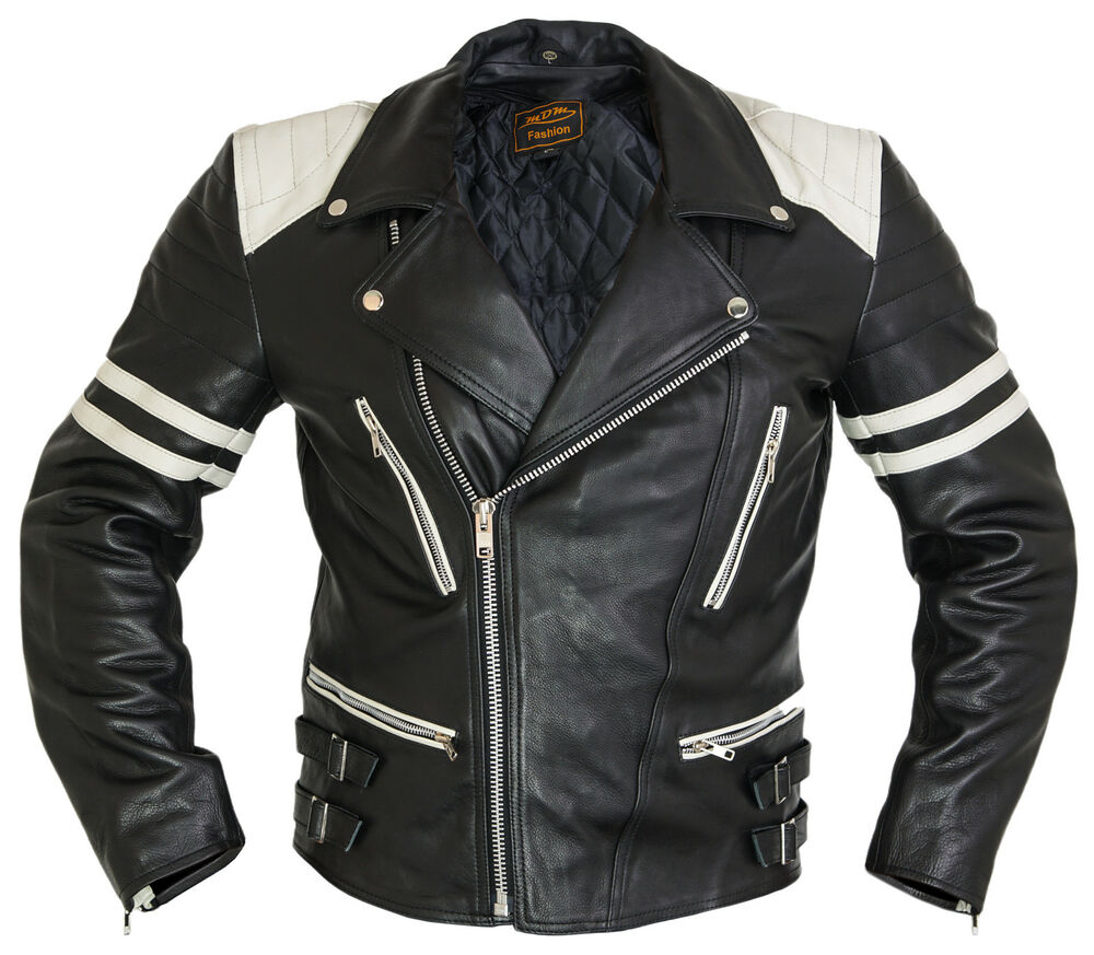 motorrad lederjacke retro jacke herren 80 s old school bikerjacke rocker ebay. Black Bedroom Furniture Sets. Home Design Ideas