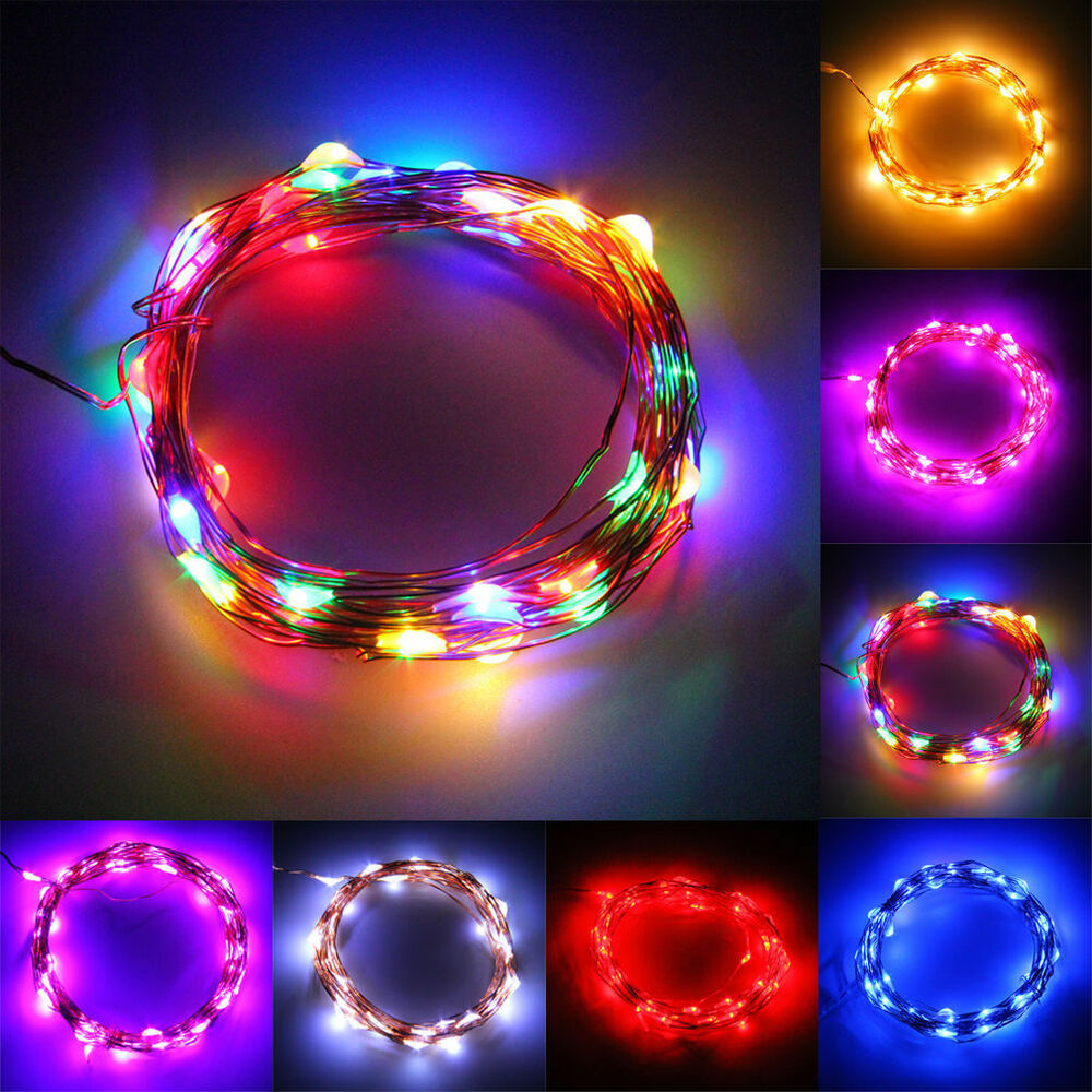 String Lights With Battery: 5M/50 LED String Fairy Light Battery Operated Xmas Lights