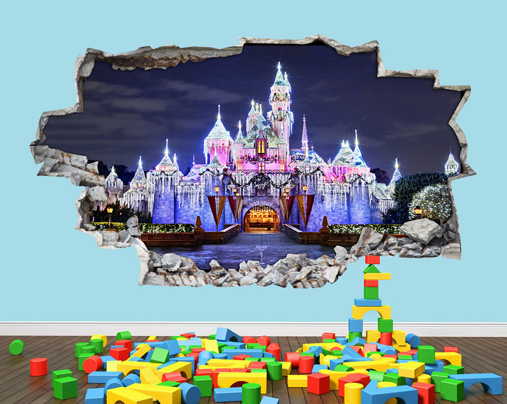 Fairy castle princess night nursery boys girls room wall for Fairy castle mural