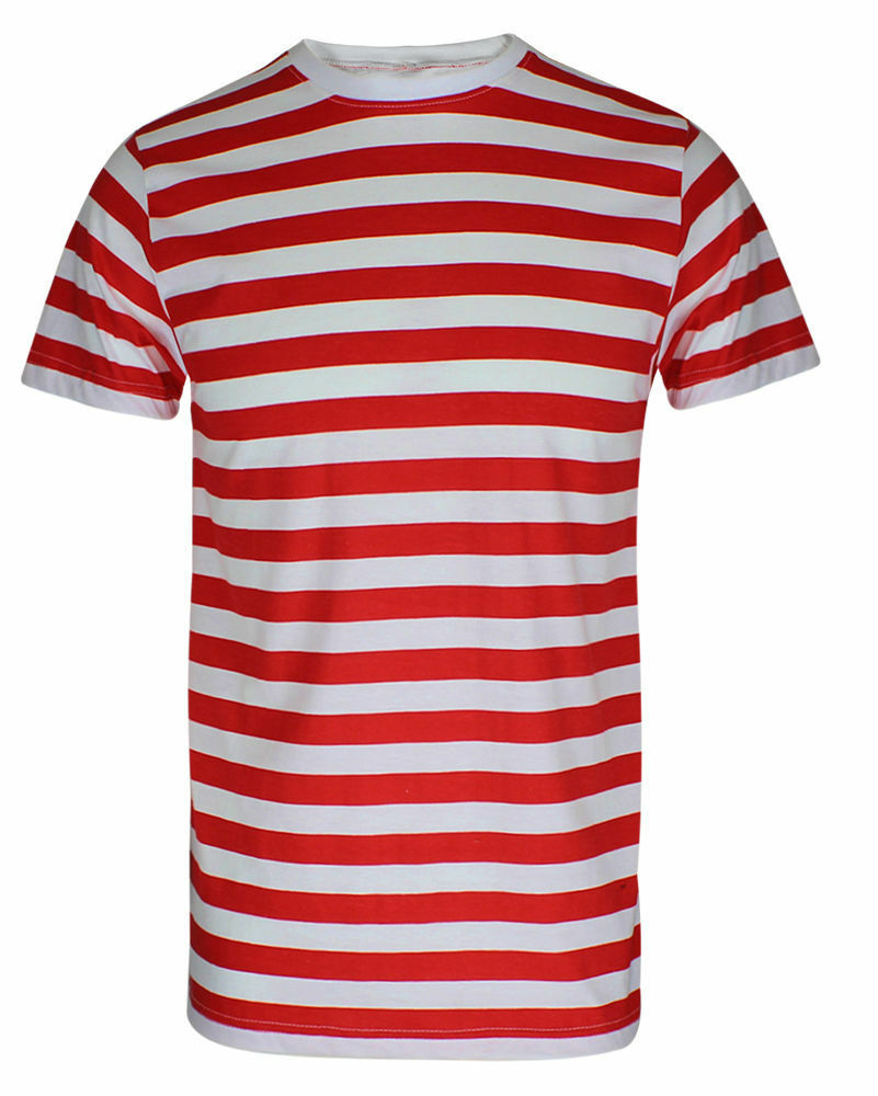 f8def137cd93a Details about Red   White Striped T-Shirt Boys Girls Kids Book Week Fancy  Dress Top Lot