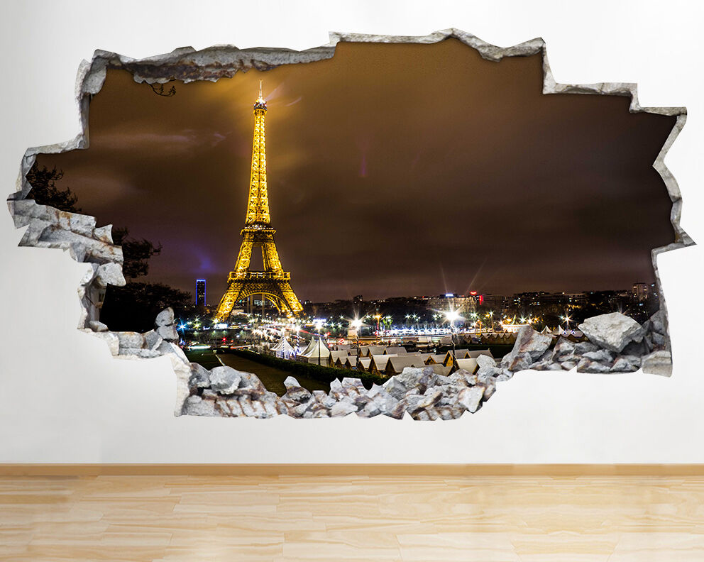 Paris Night Eiffel Tower Wall Vinyl Poster Room Wall Decal