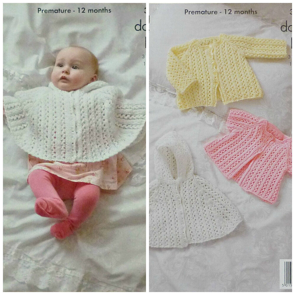 KNITTING PATTERN Baby Lacy Hooded Poncho &Lacy Cardigans Glitz DK ...