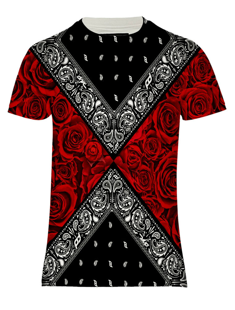 New Bandana 2 Sided Red Roses Black Paisley Street Hd