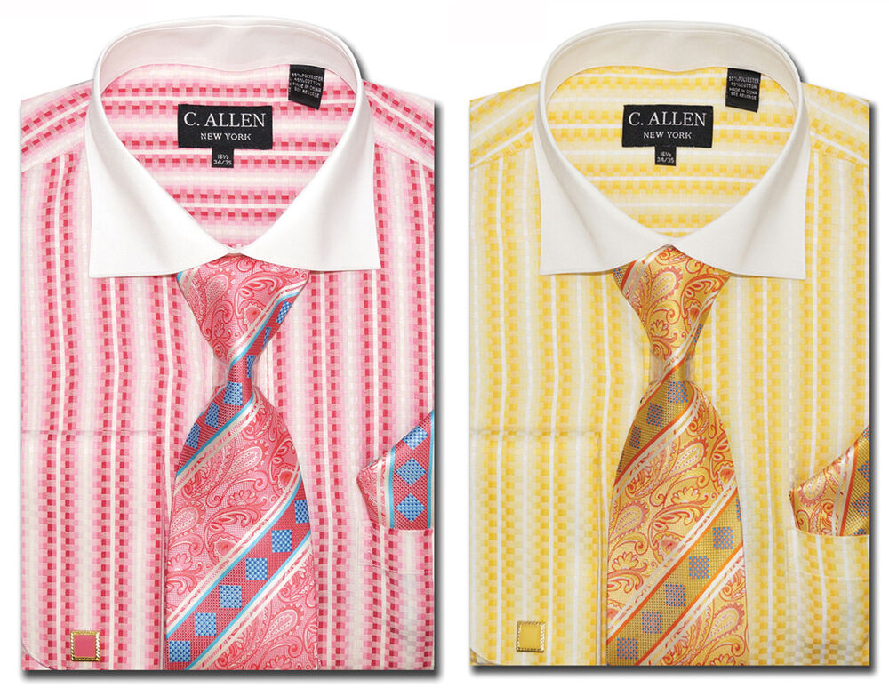 C Allen Dress Shirts Tie Combo French Cuff Checked