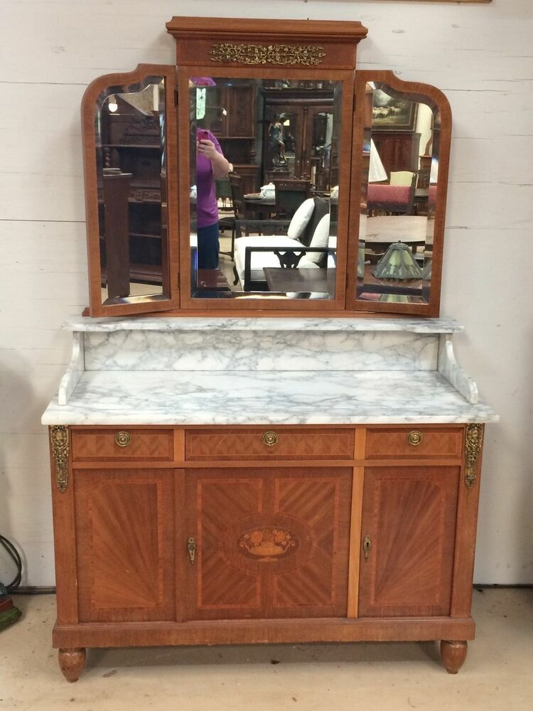 Antique French Cabinet W 3 Way Mirror Marble Top Perfect