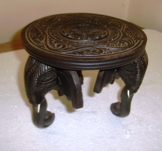 Hand carved wooden elephant head round table ornament