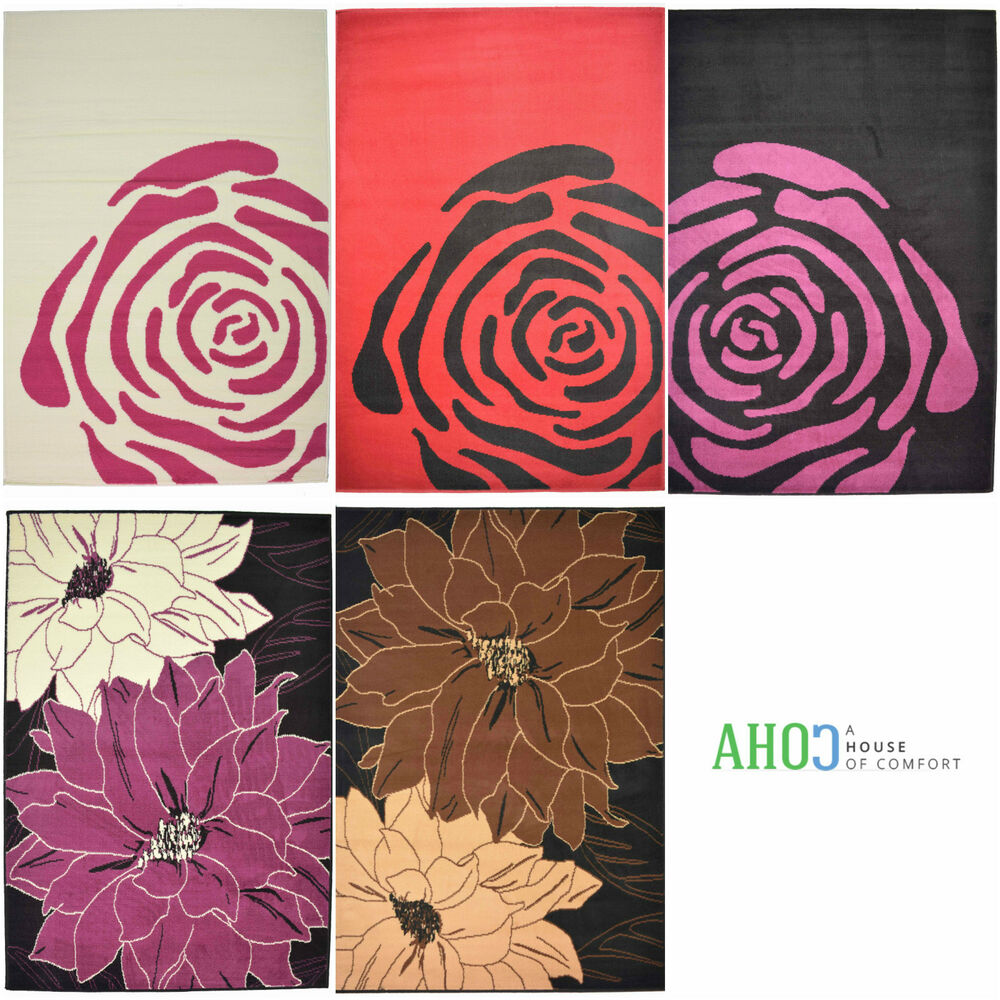 New Small X Large Modern Flower Floral Rose Rugs Carpet
