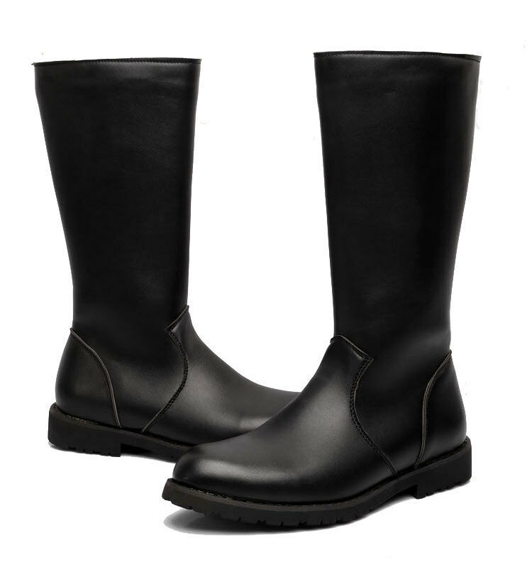 mens leather knee high boots boots image