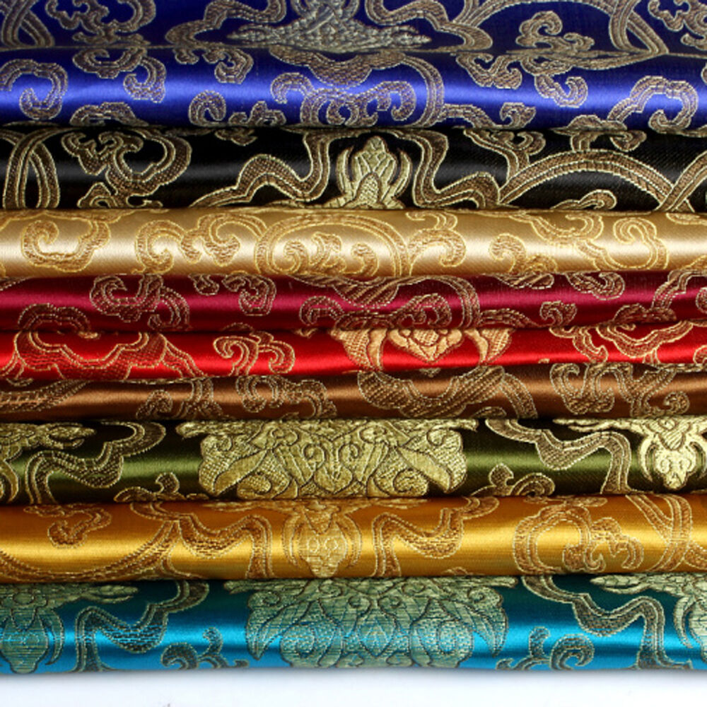 Chinese Embroidery Flower Brocade Silky Satin Fabric For