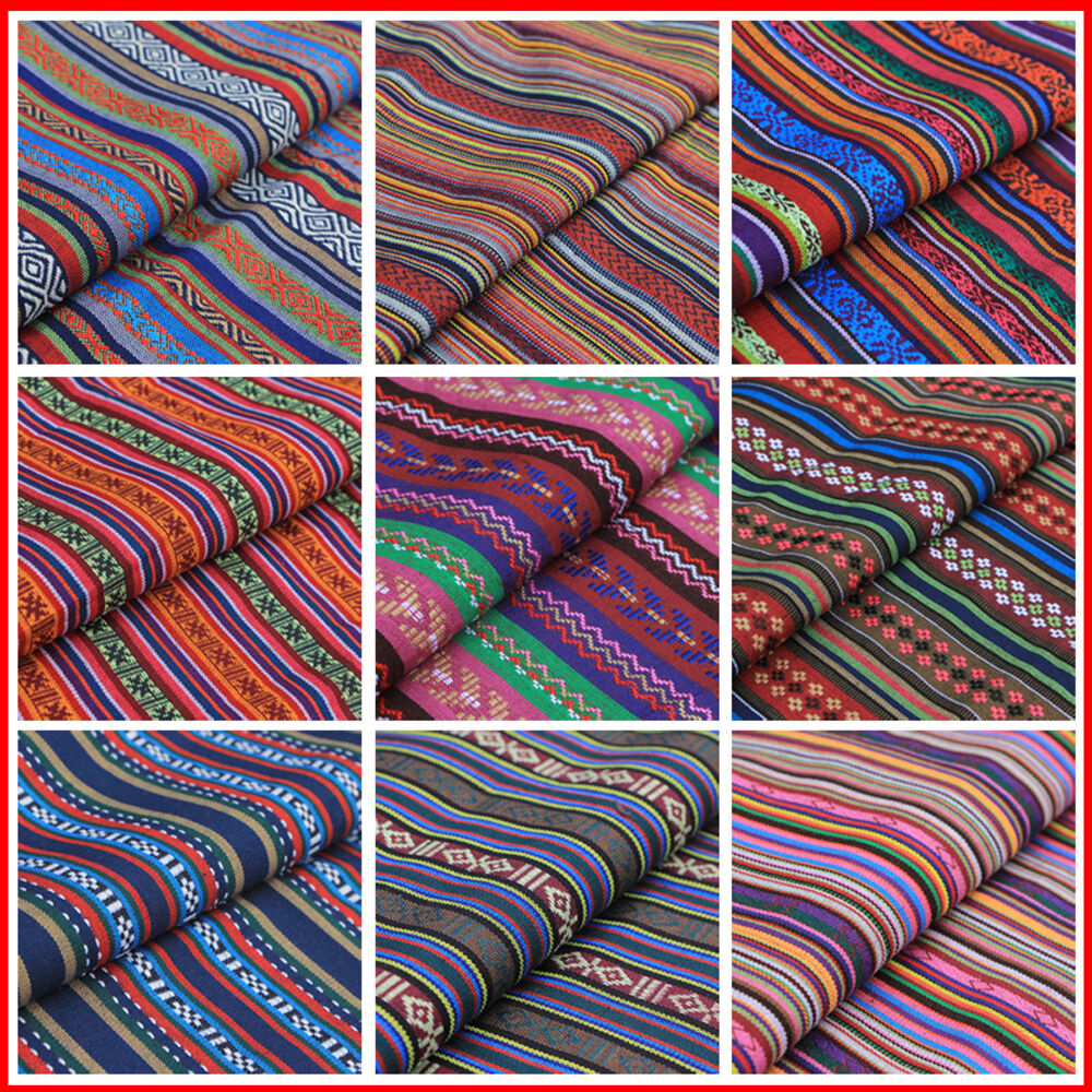 Stripe tribal ethnic cotton fabric for upholstery curtain for Cloth fabric