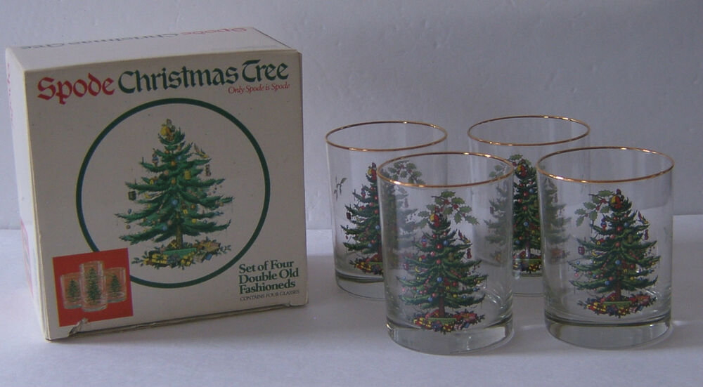 4 Spode Christmas Tree Double Old Fashioneds Bar Glasses