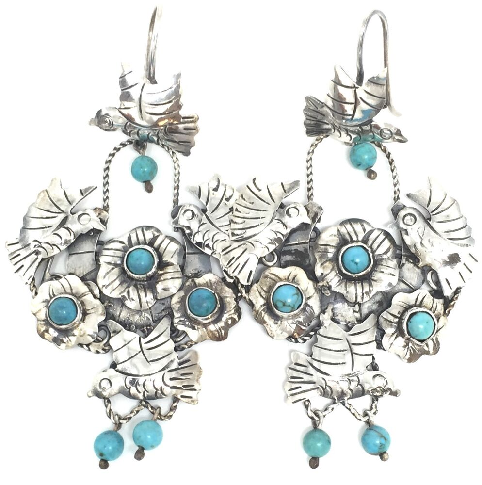 frida kahlo style taxco mexican sterling silver turquoise deco earrings mexico ebay. Black Bedroom Furniture Sets. Home Design Ideas