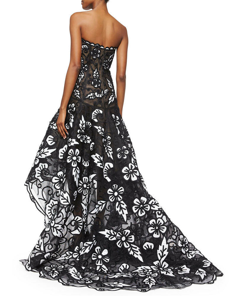 10990 new oscar de la renta black white floral embroidery high low gown dress 2 ebay. Black Bedroom Furniture Sets. Home Design Ideas