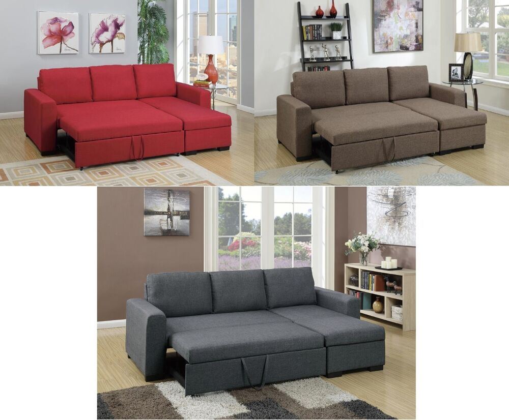 2pc sectional set polyfiber sofa w pull out bed chaise w for Duke sectional sofa bed w storage