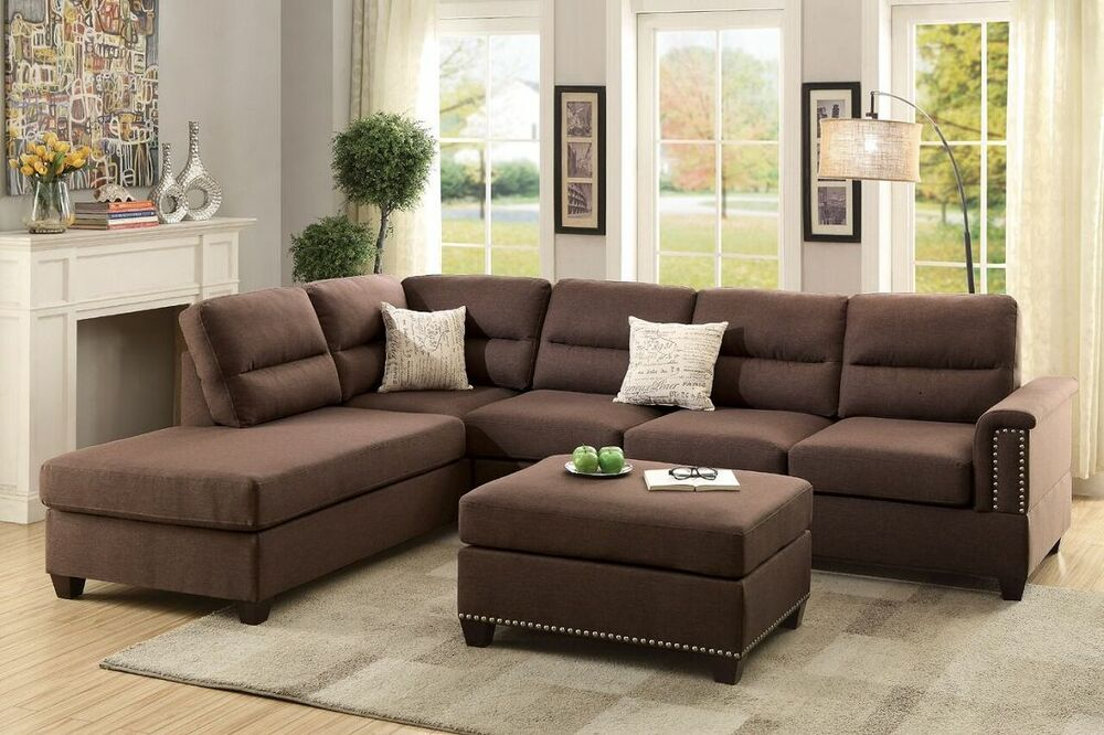 Modern plush 3pc reversible sectional chocolate sofa l r for 3pc sectional with chaise