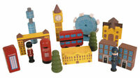 NEW LONDON WOODEN PLAY SET IN A BAG. FAMOUS LANDMARKS++ FUN TOY MODEL!