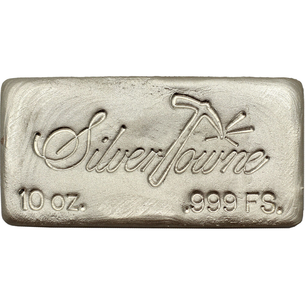 Hand Poured 10oz 999 Fine Silver Bar By Silvertowne Ebay
