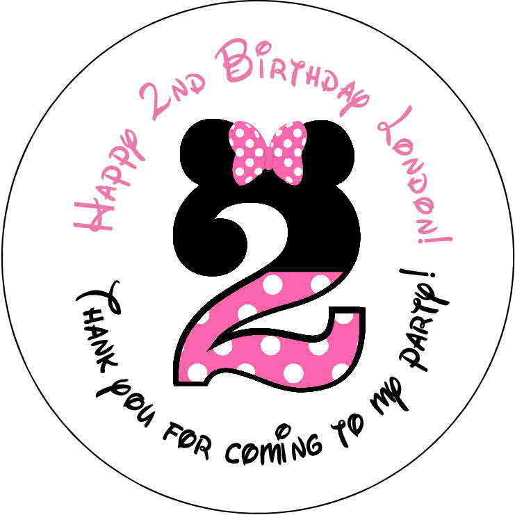 24 Stickers 1.67 Inch Personalized Round Birthday Party