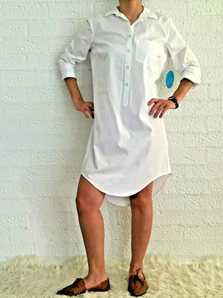Women white poplin shirt dress long sleeve casual blouse Women s long sleeve shirt dress