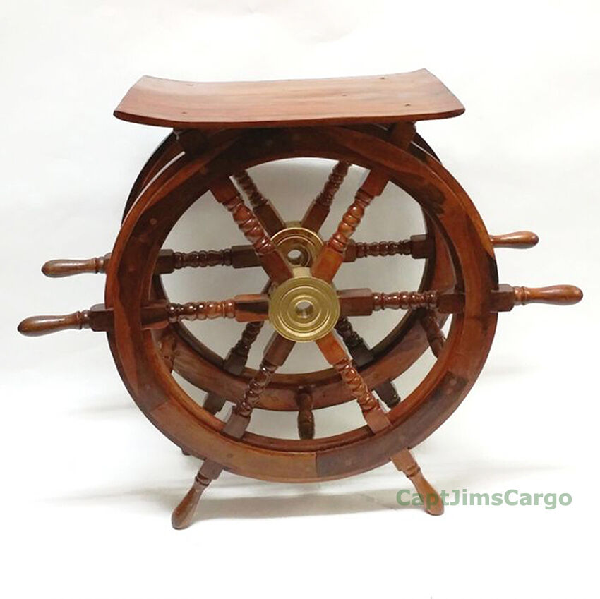 "Nautical Wheel Decor: XL Ships Steering Wheel Teak End Table 23.75"" Wood"