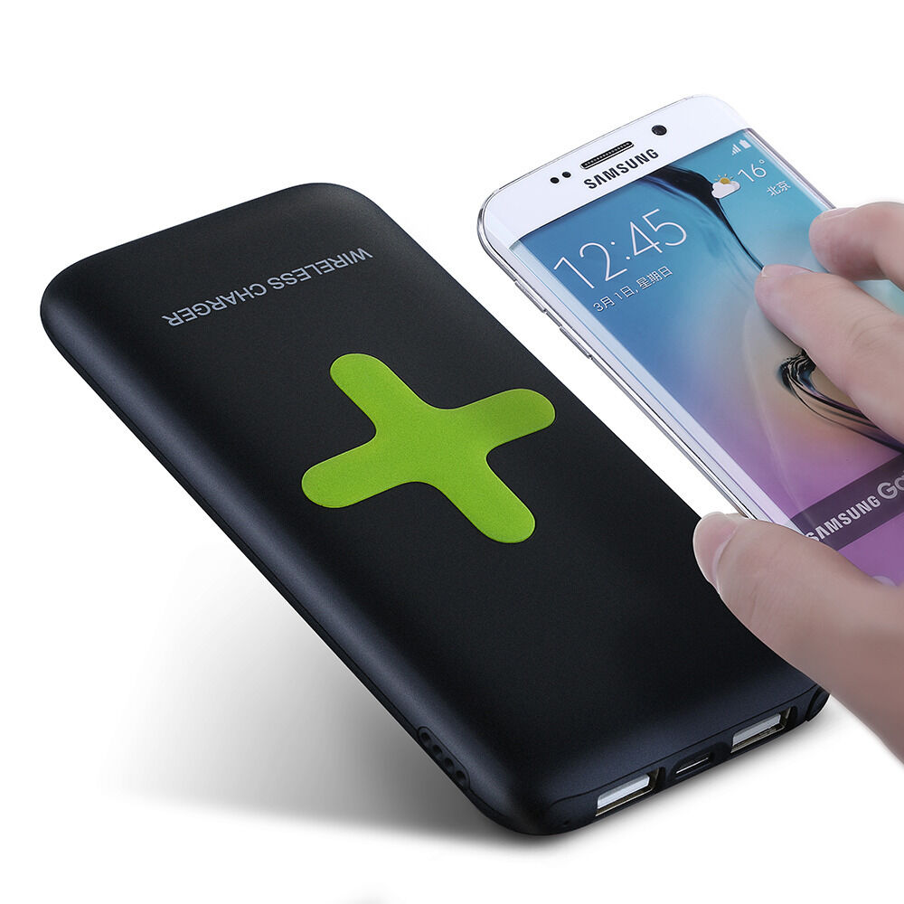 7000mah qi wireless charger charging pad power bank for samsung galaxy s8 s7 s6 ebay. Black Bedroom Furniture Sets. Home Design Ideas