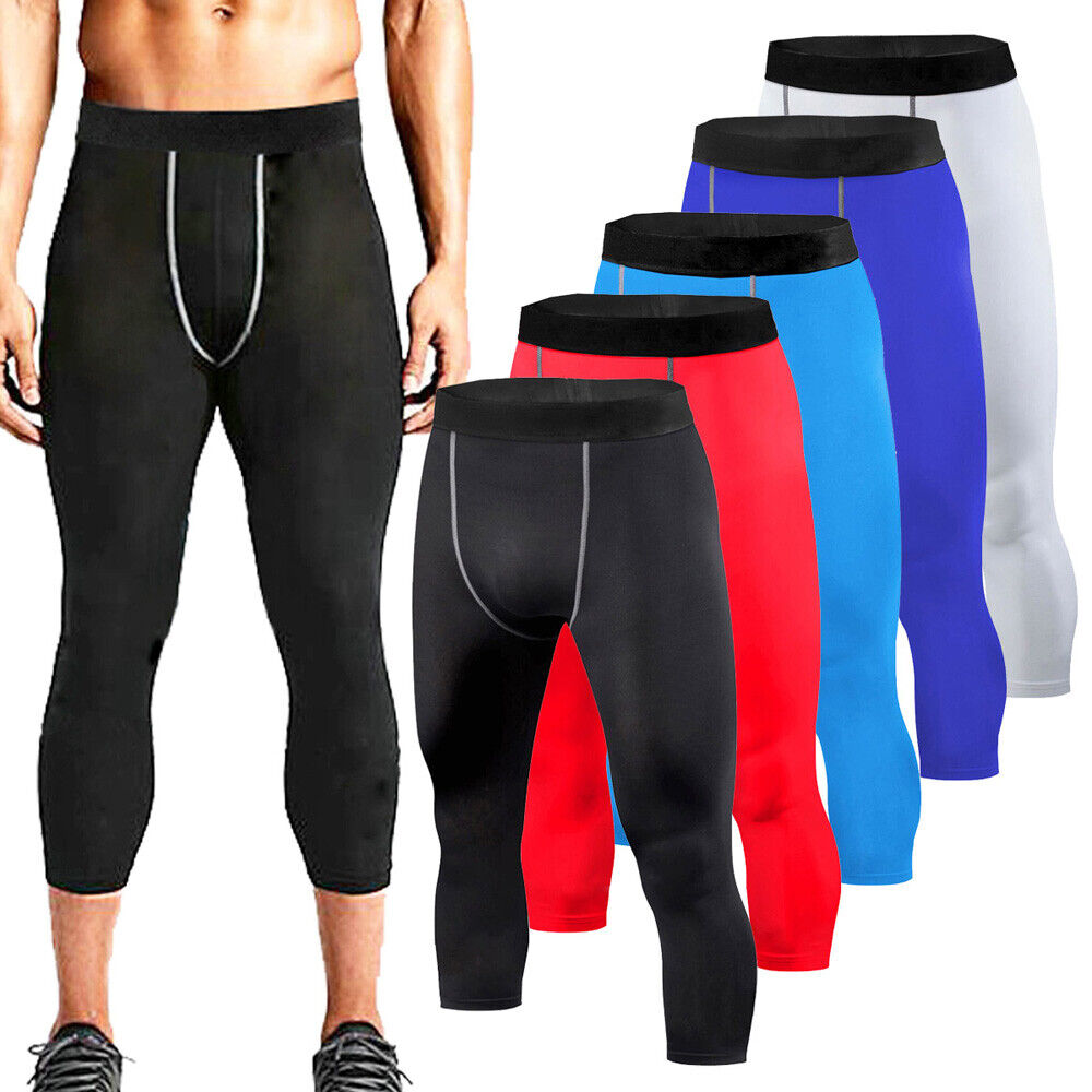 mens running compression pants 3 4 pant gym workout base layers football tights ebay. Black Bedroom Furniture Sets. Home Design Ideas