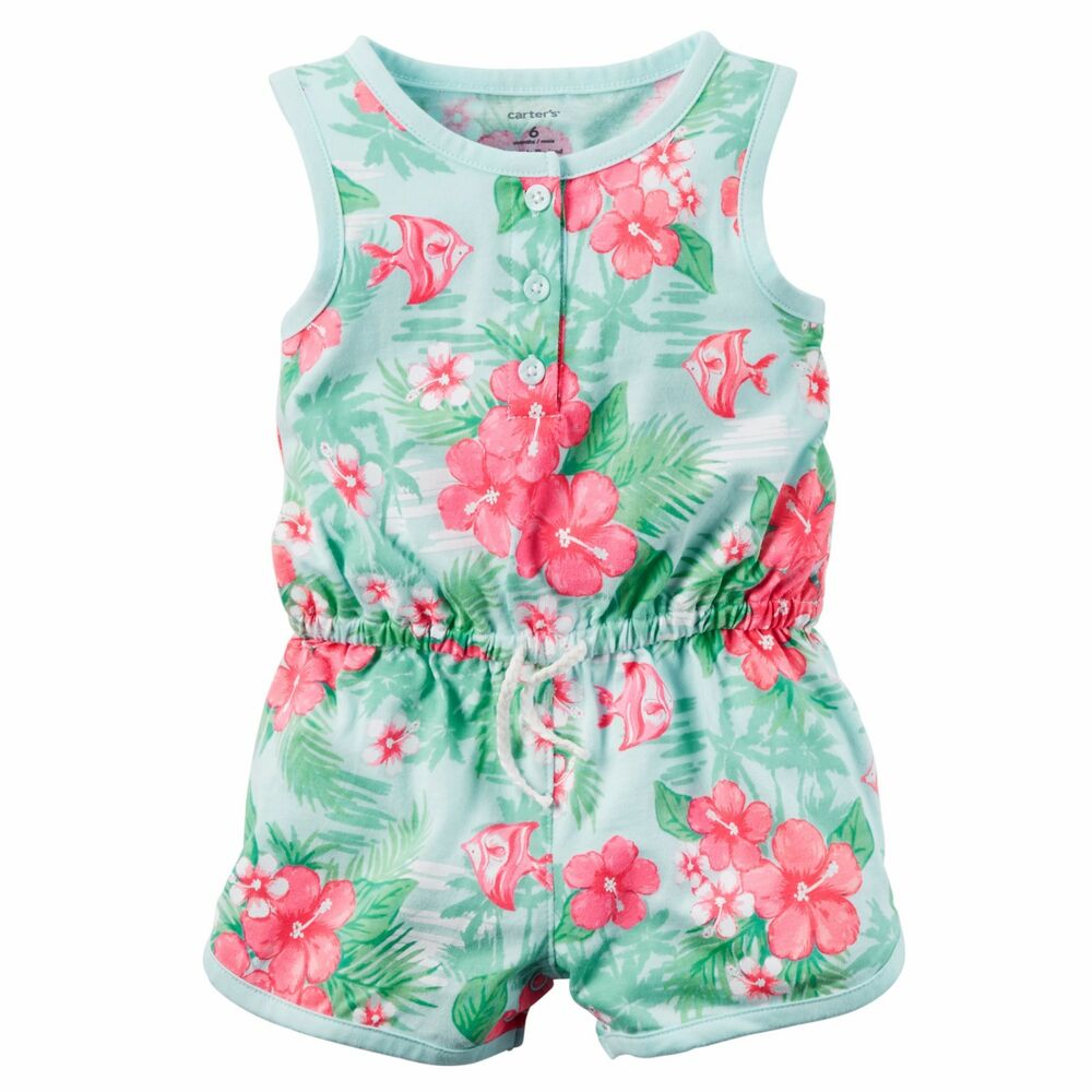 Baby Girls Carters Printed Jersey Romper 3 6 9 12 18 24 Months Clothes | eBay