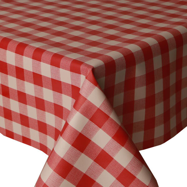 Pvc Table Cloth Picnic Red Gingham Check Wipeable