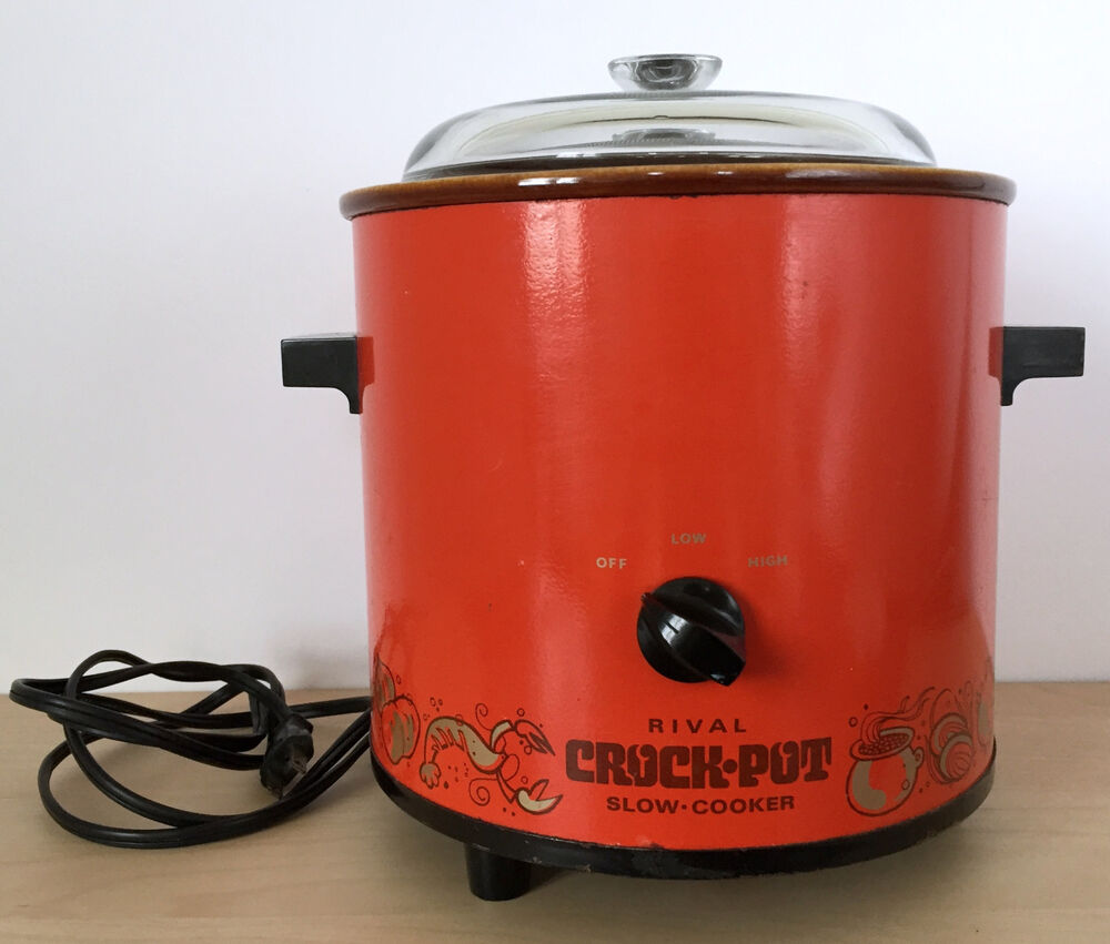 Electric Crock Pot ~ Vtg s rival qt electric flame red orange