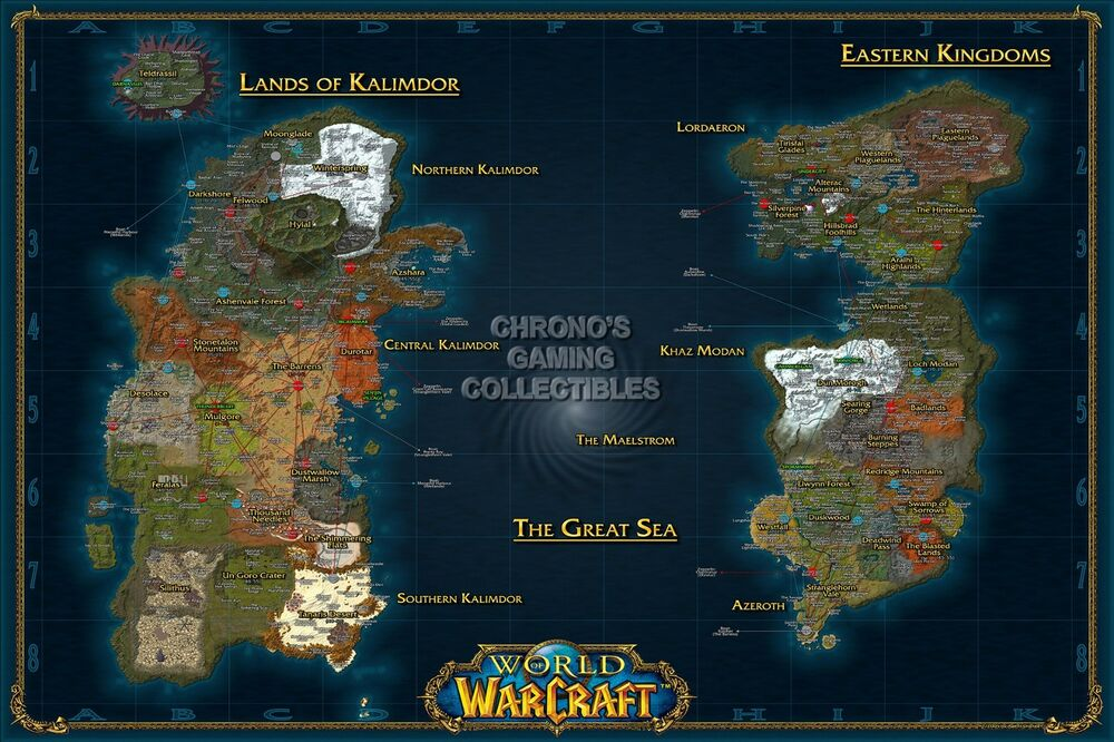 Rgc Huge Poster World Of Warcraft World Map Wow Pc