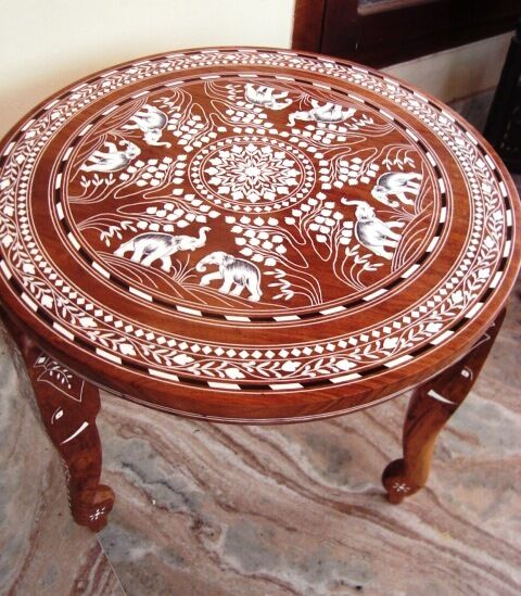 Round Coffee Tables On Ebay: Vintage Look Elephant Carved Inlaid Work Coffee Round