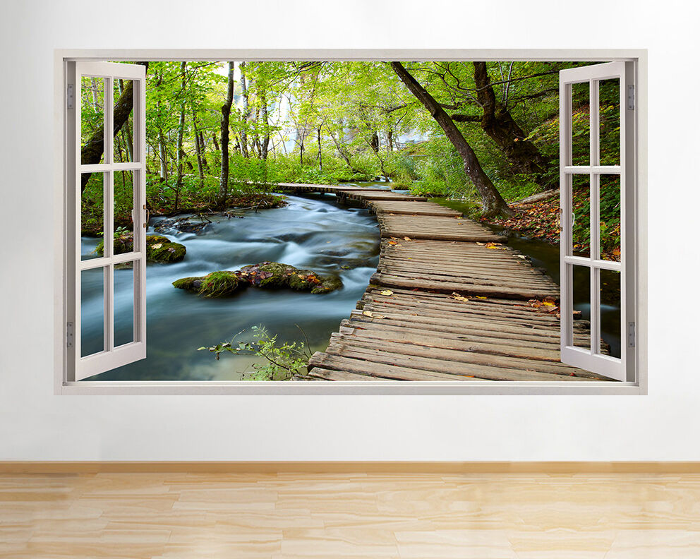 wall stickers lake forest nature beautiful scene living room window