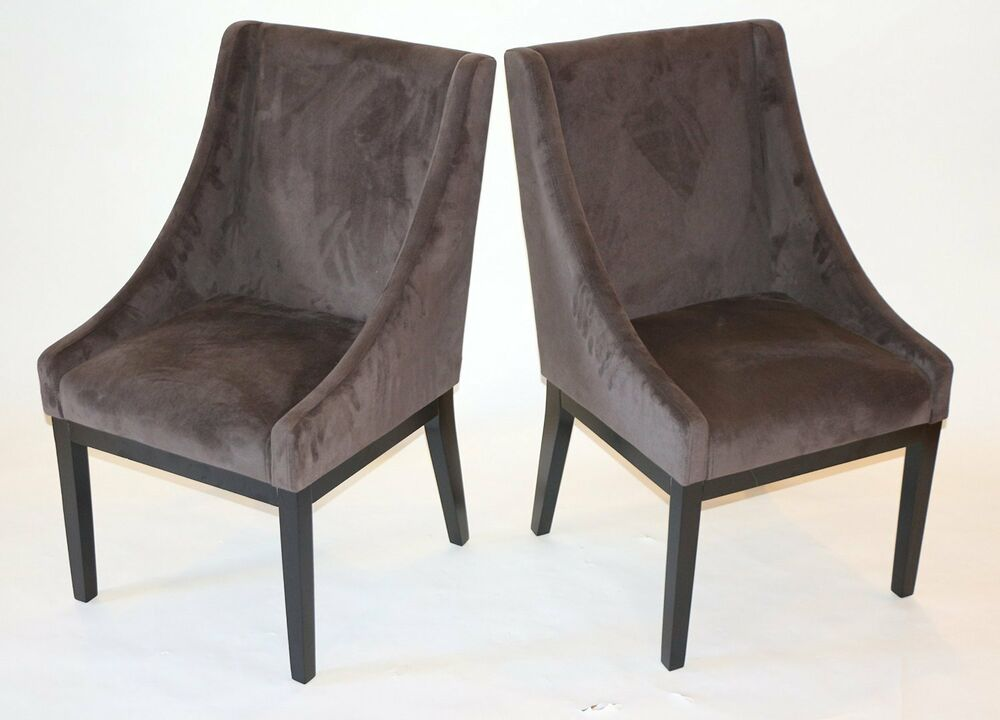 Set of 2 modern brown arm slipper dining sofa chair accent for Sofa and 2 chairs living room