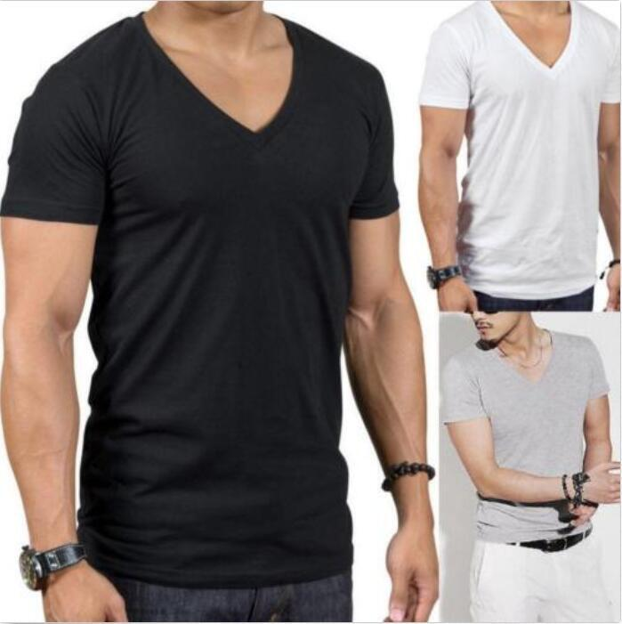 Mens cotton deep v neck muscle short sleeve slim fit for Cheap slim fit shirts