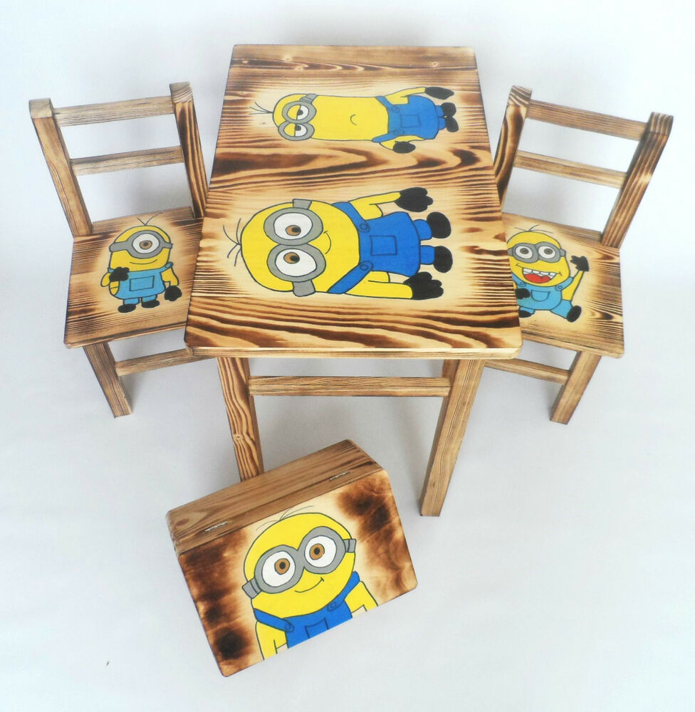 Wooden Kids Table And Chairs Set With Matching Box Fairy