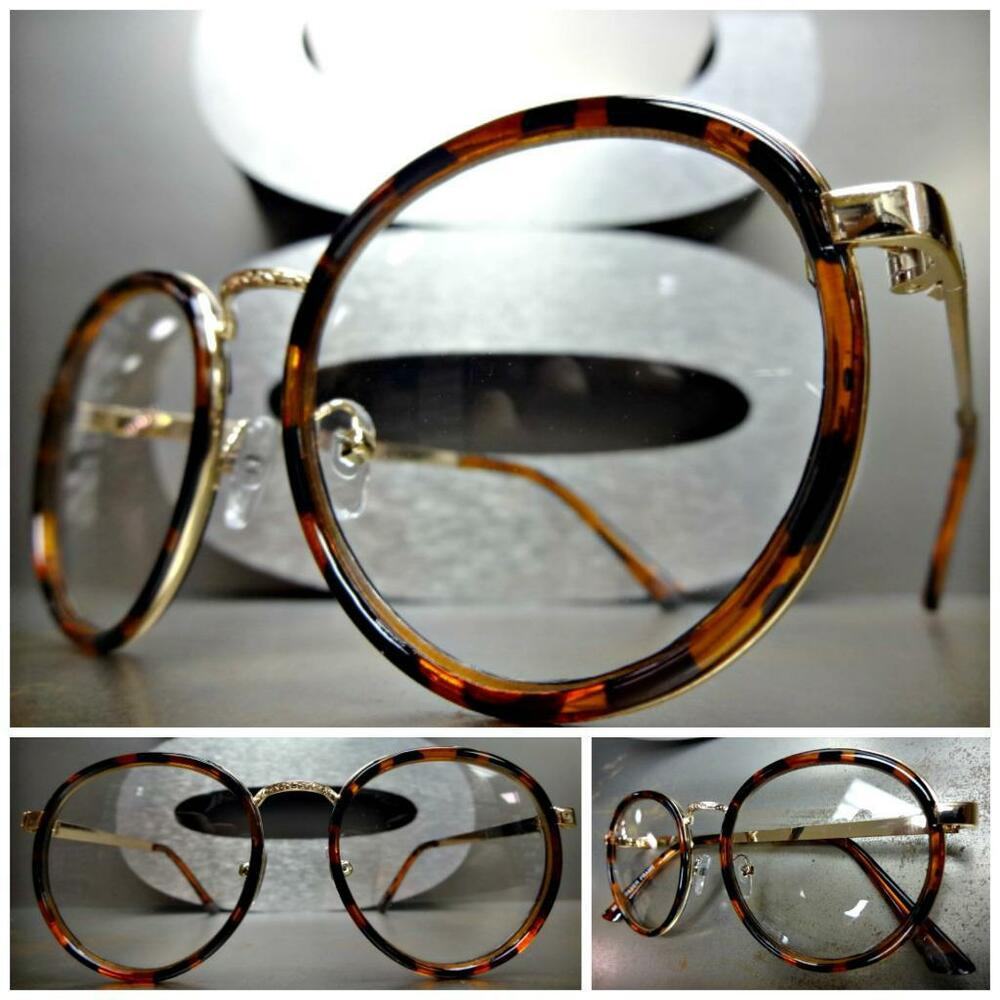 Clear Lens Gold Frame Glasses : CLASSIC VINTAGE Style Clear Lens EYE GLASSES Small Round ...
