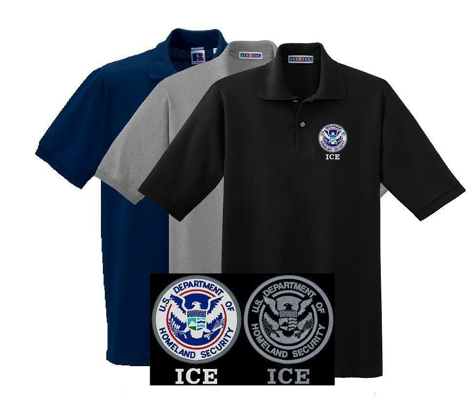 Homeland security ice embroidered polo med 5xl for Embroidered police polo shirts