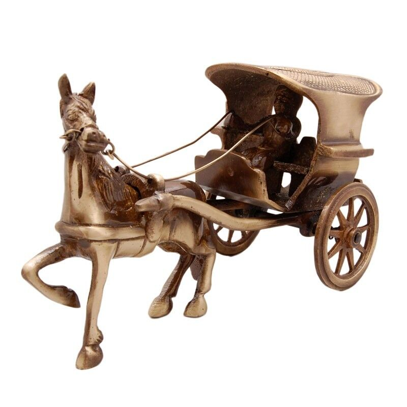 Home Decor Items Buy Online: Gorgeous Brass Horse Carriage / Horse Cart Ornament Statue