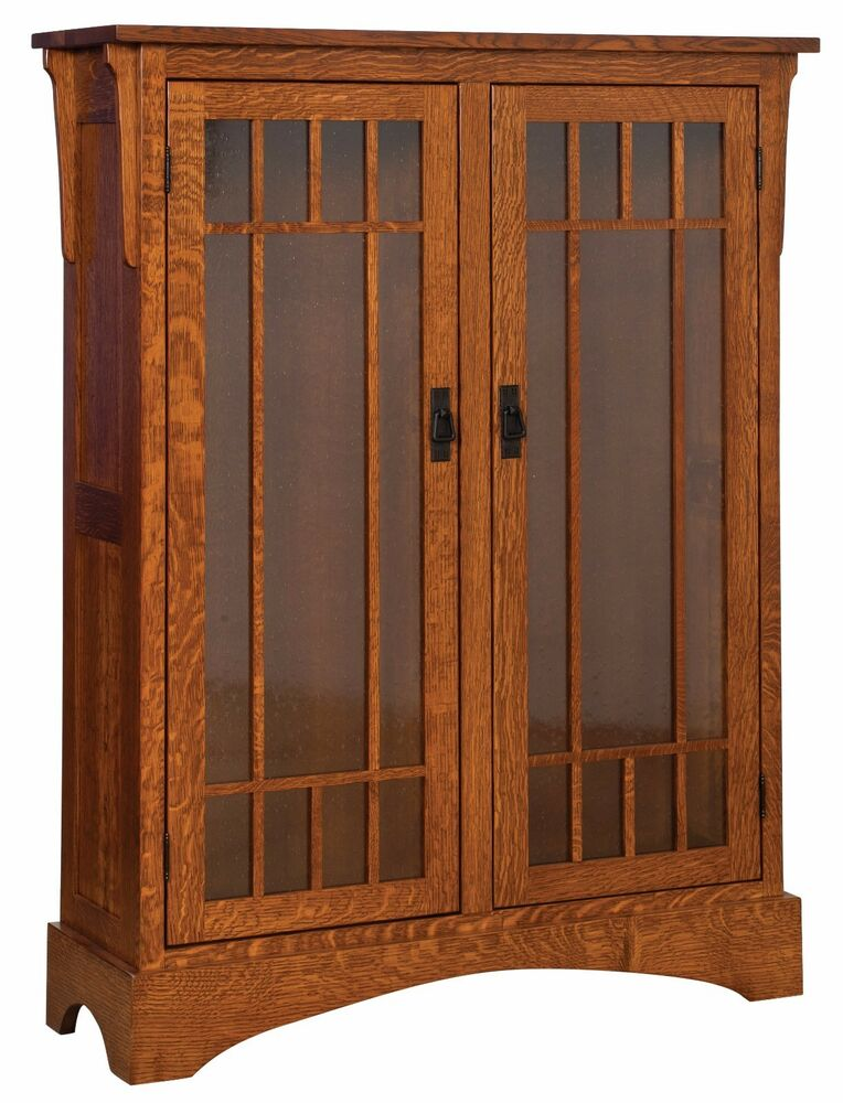 Amish midway mission craftsman solid wood bookcase glass for Solid wood door with glass