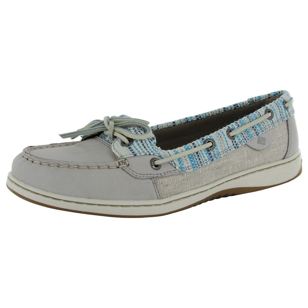 sperry womens angelfish rafia moc slip on lace up boat