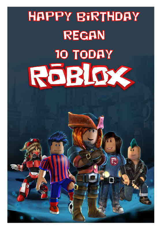 LARGE A5 GLOSSY PERSONALISED ROBLOX BIRTHDAY CARD | eBay